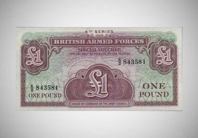 Банкнота , деньги  Британской армии. 1 фунт. 1962 год.