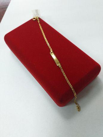 Bransoletka złota z blaszką próba 585