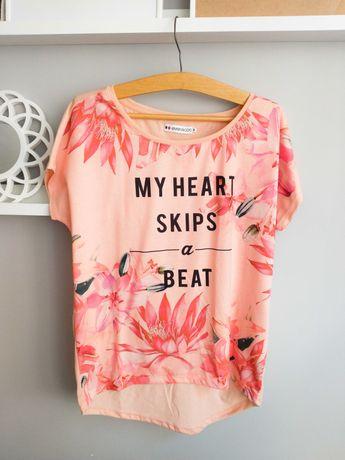 NOWA Koszulka Even&Odd L 40 Kwiaty Różowa i Morelowa T-Shirt Top Luźna