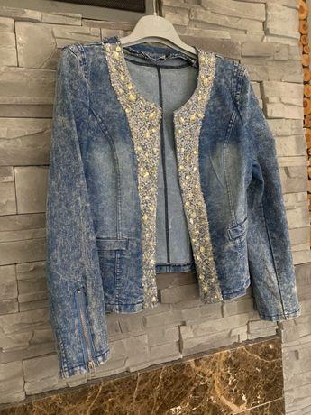 Żakiet kurtka jeansowa cekiny roz S M