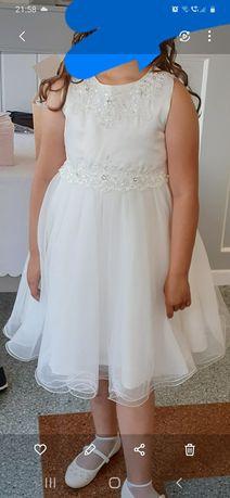 Sukienka dziewczęca biała na przebranie Komunia Św. r.146/152 cm.