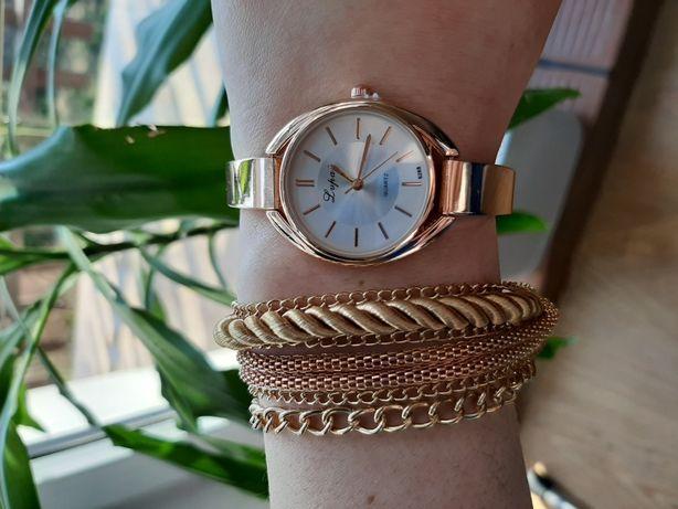Zestaw biżuterii zegarek bransoletka pierścionki NOWE