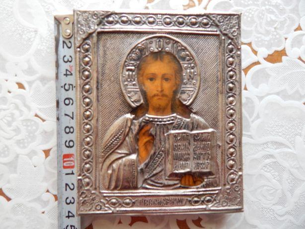 Икона старинная Иисус Христос Вседержитель серебрение