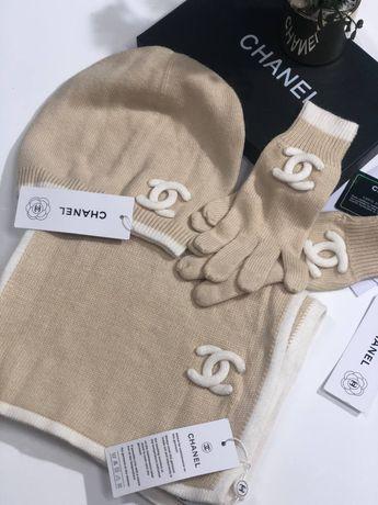 Комплект Chanel( шапка, шарф, перчатки)