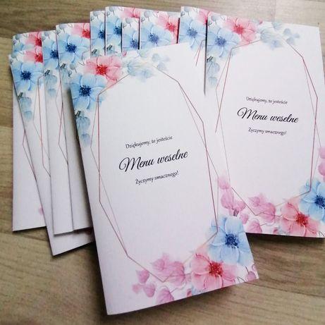 Menu weselne kwiaty NIEBIESKO-RÓŻOWE