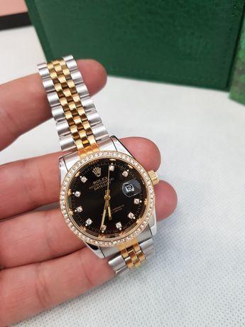 Zegarek damski Rolex Datejust 36mm  srebrno złoty czarna tarcz