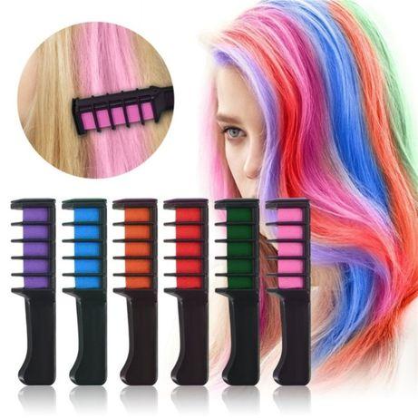Мелки для волос разноцветные, 6 цветов, мелок расческа, мелок гребешок