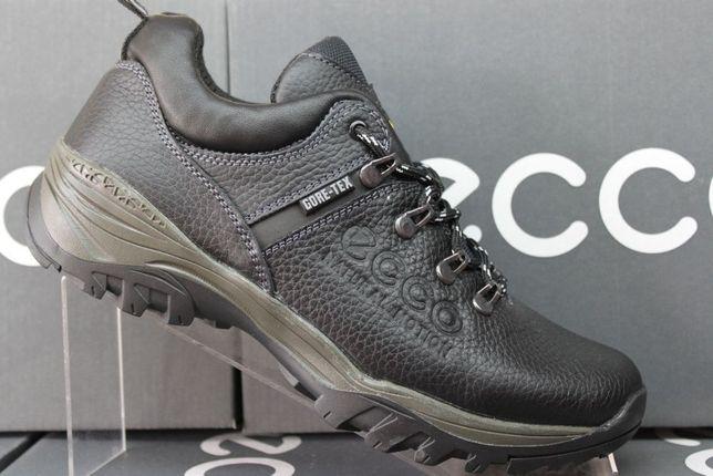 ECCO кожанные черные кроссовки - туфли.(код:12-4чер.)