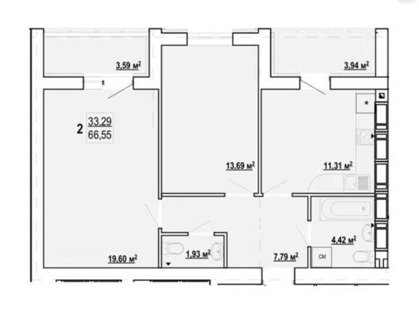 ЖК Гидропарк! большая 2 комн. квартира 64м2,два балкона,13 этажSV