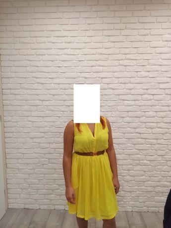 Sukienka żółta z paskiem rozmiar 38/40 H&M