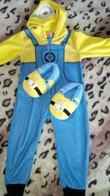Отличный флисовый комплект человечек слип комбинезон пижама и тапочки