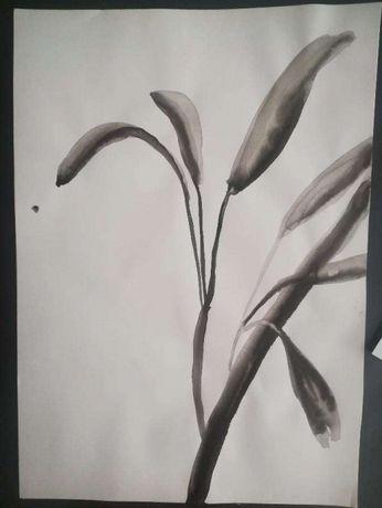 Pintura original vegetação flores 2- aguada tinta-da-china 21 x 29,7 c