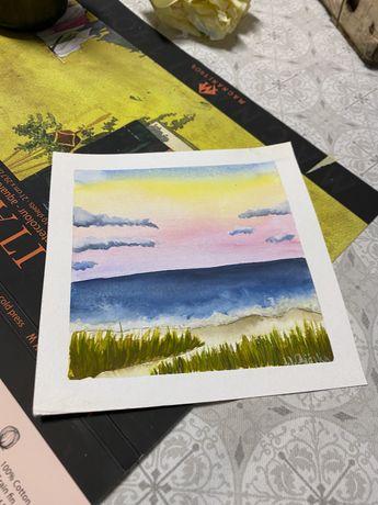 Kartka okolicznosciowa widoczek morze trawa akwarele handmade obrazek