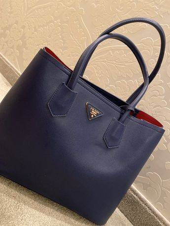 Torba torebka Prada niebieska czerwonaa