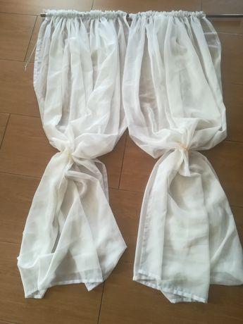 Firana woal biała 190 x 180 cm 2 szt.