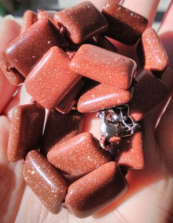 Бусы камень Авантюрин.. Золотой песок. Винтаж. 61 грамм.