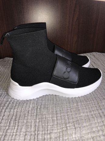 Calvin Klein CK czarne buty ze skarpetą na grubszej podeszwie sneakers