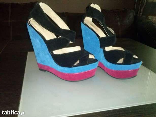 NOWE okazja modne buty na koturnie 37 czarne z niebieskim i różowy