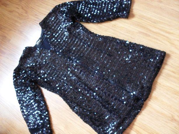 Sweter narzutka cekiny zamek 42 przyjęcia