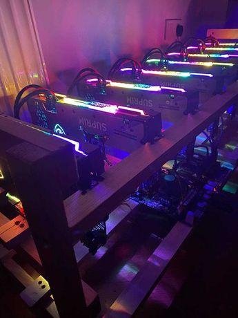 Ріг 8х RTX Geforce 3070 Msi Supim X .  Майнинг-ферма на топових картах