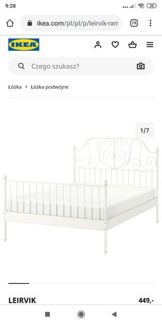 Łóżko Leirvik, Ikea (160x200)
