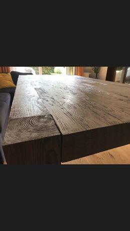 Nowy duży drewniany stół debowy szczotkowany olejowany 2x1m loft retro