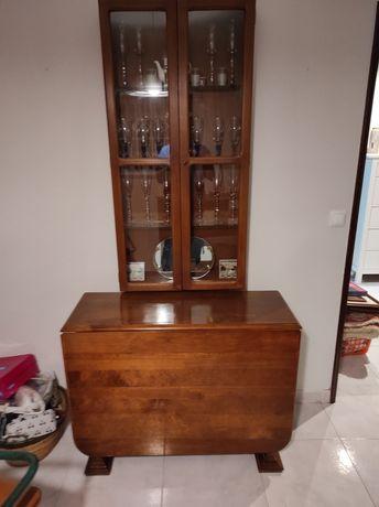 Mesa de abas e estante em madeira maciça