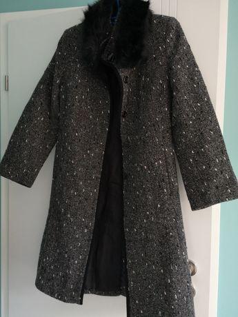 Płaszcz damski zimowy szary rozmiar S, M + gratis
