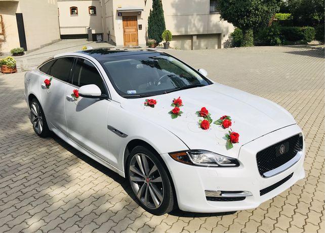 Auto do ślubu limuzyna Jagur XJ biały samochód do ślubu Warszawa