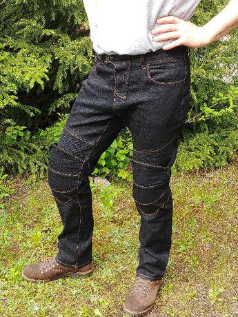 Spodnie MOTOCYKLOWE Jeansy + Ochraniacze CE kolana, biodra
