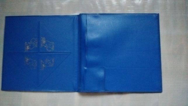 Синяя советская папка для бумаг с оленями ссср