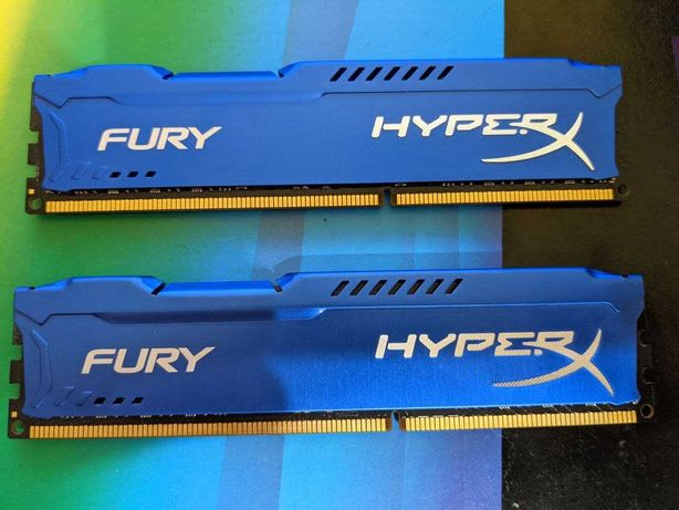 Оперативная память 16Gb (2x8GB) DDR3 1600 MHz HyperX Fury Blue