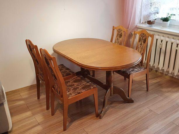 Stół do jadalni z 4 krzesłami tradycyjny 90x150/195