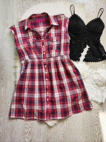 Длинная рубашка туника в клетку хлопок белая красная синяя беременным