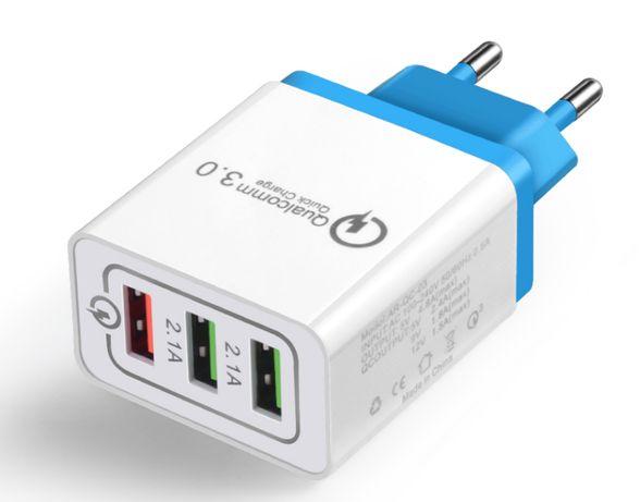 Szybkie ładowanie Quick Charge Ładowarka sieciowa 3xUSB 30W