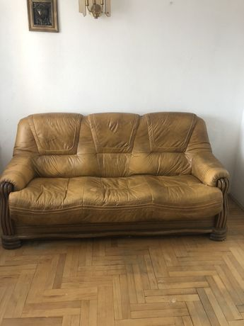 Meble sofa kanapa 2 fotele skóra drewno dąb KLER