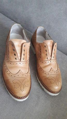 Туфли броги оксфорды дерби Италия 25,8 см бежевые