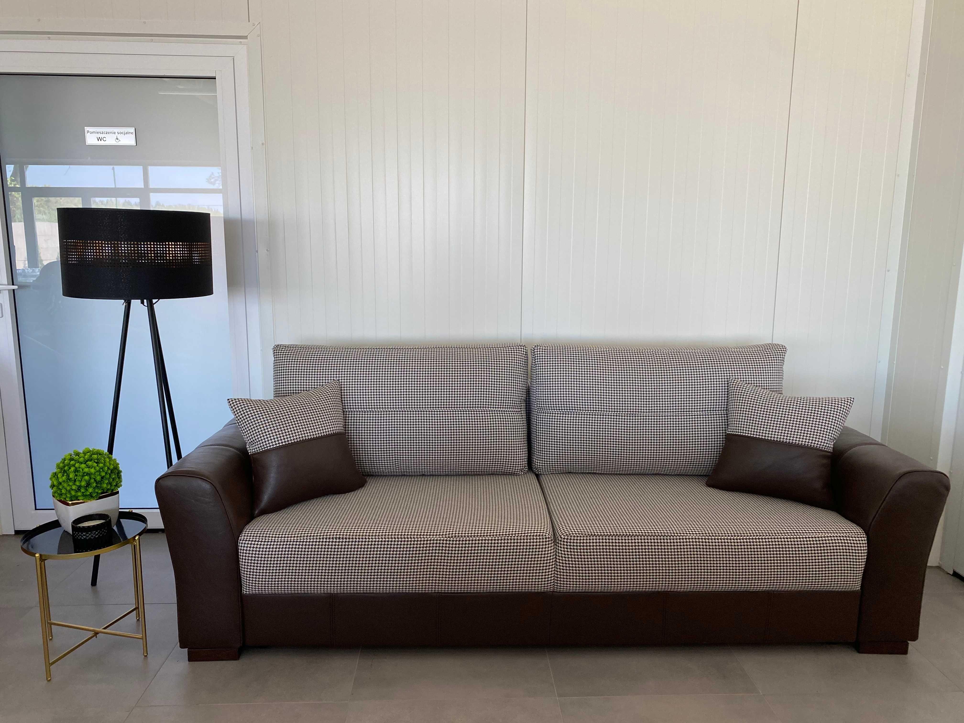 Sofa, kanapa rozkładana JM, skóra naturalna+ tkanina, dostępna od ręki