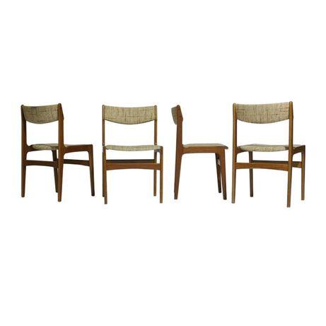 Cadeiras de jantar em teca e lã
