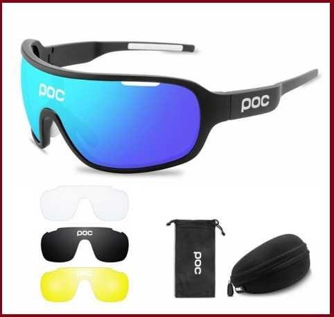 Okulary Lustrzane Sportowe Polaryzacja UV400 Rowerowe Jak Oakley POC