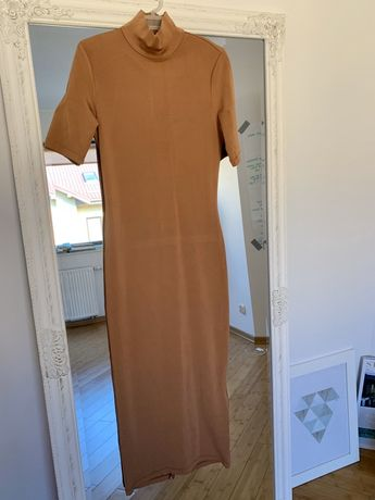 Sukienka długa 7/8 karmelowa dopasowana H&M 36 S