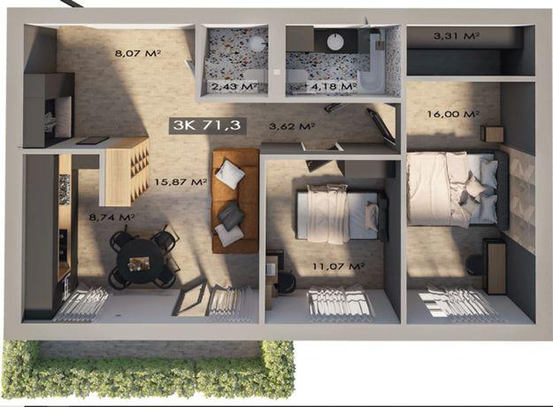 3 кім квартира в центрі міста з власним подвір'ям!