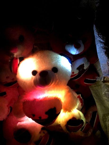 Мягкая игрушка Говорящий Плюшевый мишка с подсветкой светящийся 22 см