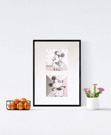 plakat z myszką Minnie i Miki, mickey mouse plakat dla dziewczynki a4