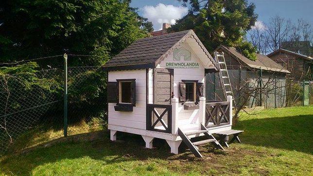 Drewniany domek plac zabaw na ogród dla dzieci