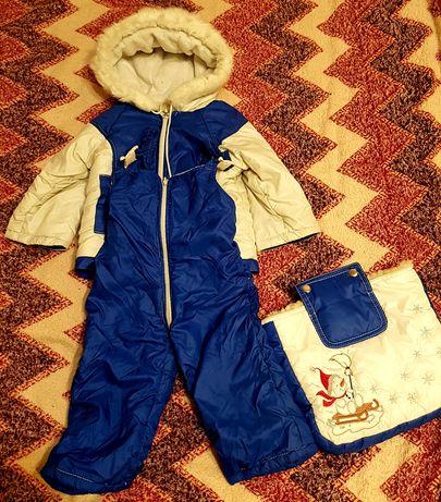 Детский зимний костюм, коверт, комбинезон 2 в 1