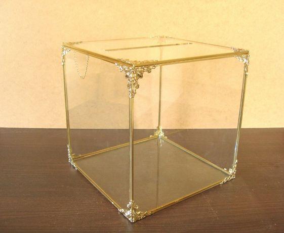Pudełko na kartki ślubne koperty szklane przezroczyste złote