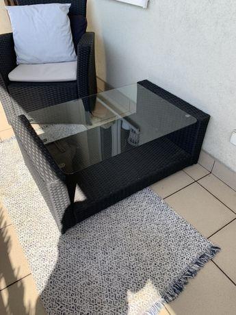 Stolik ogrodowy polirattan czarny szkło