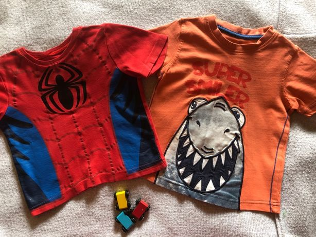 Веселые футболки на 1,5-2-3 года акула человек-паук George