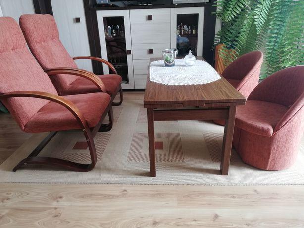 Zestaw- ława/stół, fotele,pufy, kanapa